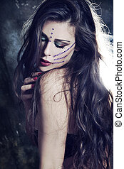 fairy woman - beautiful young fairy like woman with long...