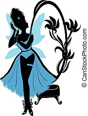 Fairy woman in chic lingerie vector illustration. Beautiful lady stand near mirror with flowers.