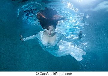 Fairy woman under water.
