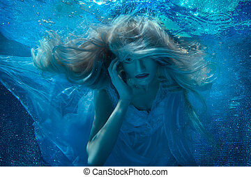 Fairy woman under water in a white dress.
