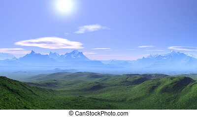 Fairyland - Mountain peaks covered with snow. Green hills...