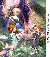 fairytale  - 3 elves making music