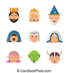 Fairytale avatars collection. Fantasy game characters warrior queen barbarian goblin princess vector mascot in flat style