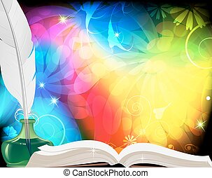 Magic book, feather and inkwell. Motley fairytale background.