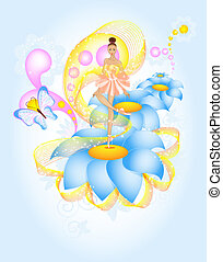 Fairytale Ballet, ballerina dencing on blue flower in magic ...