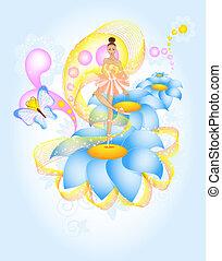 Fairytale Ballet, ballerina dencing on blue flower in magic...