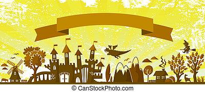 fairytale banner - fairytale themed silhouette on grungy...