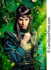fairytale - Beautiful male elf in the magic forest. Fantasy...