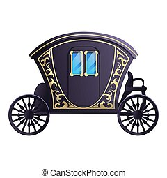 Fairytale carriage icon. Cartoon of fairytale carriage icon for web design isolated on white background