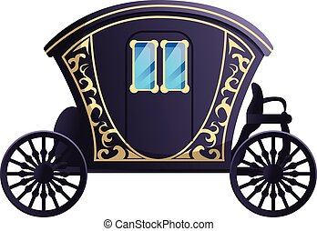 Fairytale carriage icon, cartoon style