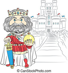 fairytale cartoon King Charles the First in the crown, with the sword and Globus cruciger before the medieval castle