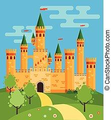 fairytale, castello, illustrazione