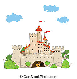 fairytale castle with towers trees and clouds