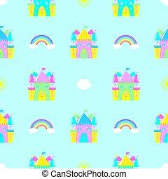 fairytale castle, clouds, sun rainbow seamless pattern