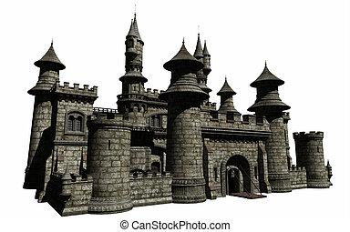 Fairytale castle isolated on white, 3d digitally rendered illustration