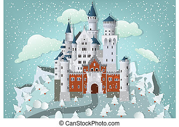 Fairytale castle in winter - Vector illustration of ...
