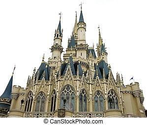 Fairytale castle - Magic fairytale princess castle on white...