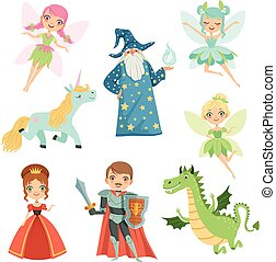 Fairytale characters set in different costumes. Princess, funny unicorn. Wizard, dragon and knight. Vector illustrations in cartoon style