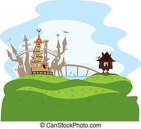 fairytale city - vector fairytale city on green hills with...