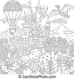 fairytale, coloração, castelo, página