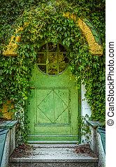 Fairytale Cottage Door - Green Door Of Fairytale Cottage...