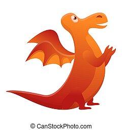 Fairytale dragon icon, cartoon style