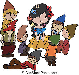 fairytale - Image of a princess with dwarfs