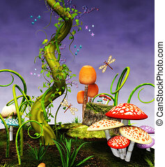fairytale - Fantasy background with mushrooms, magic beans ...