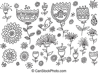 Fairytale Flower Spring Doodles set