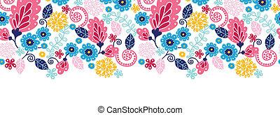 Fairytale flowers horizontal seamless pattern background