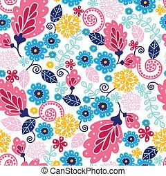Fairytale flowers seamless pattern background