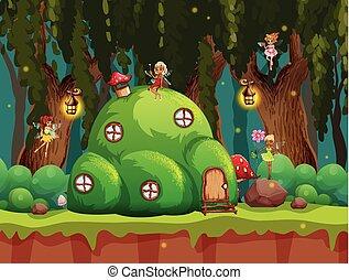 fairytale, foresta, scena