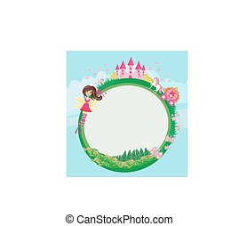 Fairytale frame with castle and carriage