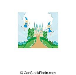 Fairytale frame with little fairies