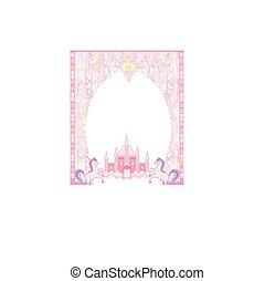 Fairytale frame with magic castle and unicorns