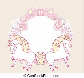 Fairytale frame with unicorns