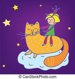 fairytale, -, gatto, bambino, ragazza, principessa, cartone animato