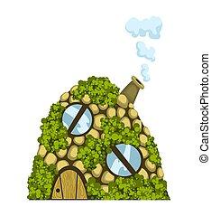 Fairytale house. Fantasy dugout house. Housing village illustration. Kids fairytale playhouse isolated on white background.