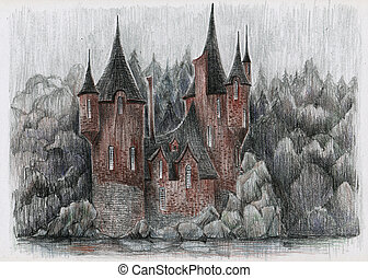 Fairytale house. Sketch in pencil.