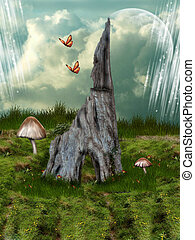 Fairytale House tree in the garden with butterfly