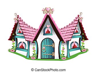 fairytale house with pink roof
