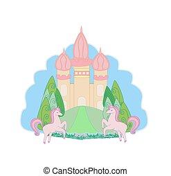 Fairytale icon with magic castle and unicorns