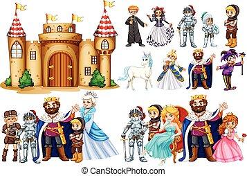 fairytale, karakters, en, kasteel, gebouw
