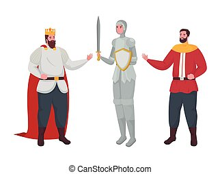 Fairytale king knight and prince cartoon vector design