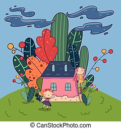 Fairytale landscape with cute pixie girls and little pink house surrounded by plants. Doodle fantasy land. Vector childish design for book cover or card