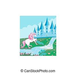 Fairytale landscape with magic castle and beautiful unicorn
