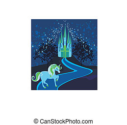 Fairytale landscape with magic castle and unicorn