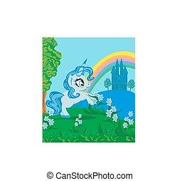Fairytale landscape with magic castle and unicorn