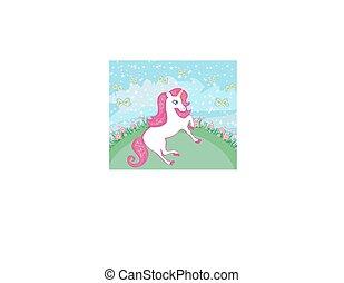 Fairytale landscape with magic unicorn