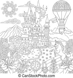 Fairytale landscape with old castle - Fairy tale concept. ...